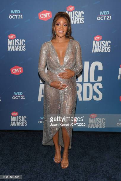 In this image released on October 21 Mickey Guyton attends the 2020 CMT Awards broadcast on Wednesday October 21 2020 in Arrington Tennessee