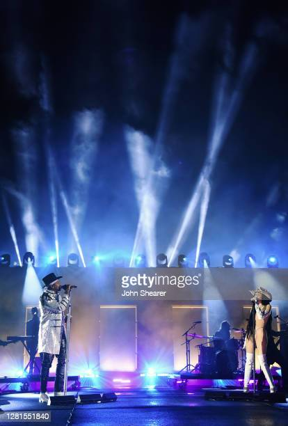In this image released on October 21, Noah Cyrus and Jimmie Allen perform onstage the Bicentennial Mall in Nashville, Tennessee for the 2020 CMT...