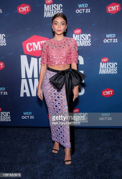 In this image released on October 21, Sarah Hyland attends the 2020 CMT Awards broadcast on Wednesday October 21, 2020.