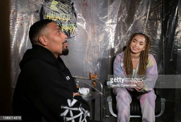 In this image released on October 31 Jordan Banjo and Ella Eyre during the KISS Haunted House Party 2020 at The Bedford on October 20 2020 in London...