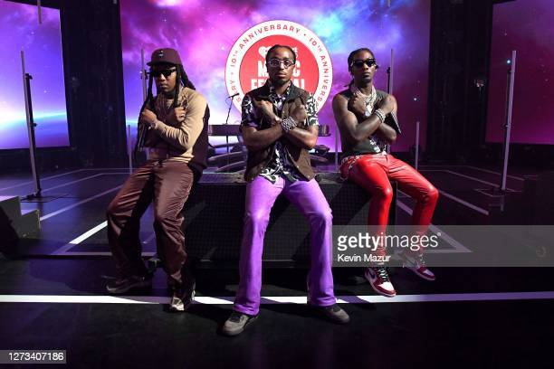 In this image released on September 18, Takeoff, Quavo, and Offset of Migos pose onstage for the 10th Anniversary of the iHeartRadio Music Festival...