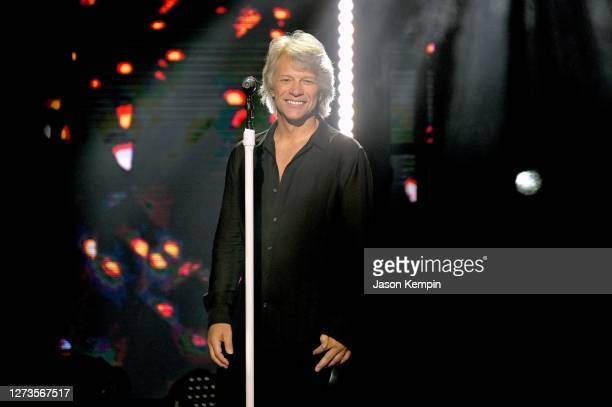 In this image released on September 19, Jon Bon Jovi performs onstage for the 10th Anniversary of the iHeartRadio Music Festival streaming on...