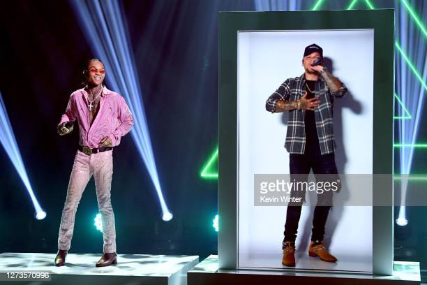 In this image released on September 19, Swae Lee performs with Kane Brown for the 10th Anniversary of the iHeartRadio Music Festival streaming on...