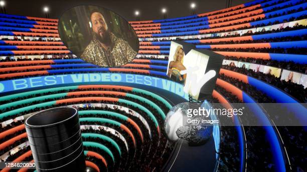 In this image screengrab on November 08, Anitta presents the award for Best Video to DJ Khaled at the MTV EMA's 2020 on November 03, 2020 in Rio de...