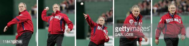 In this image sequence US President George W Bush throws out the first pitch at Nationals Park prior to the first regular season baseball game at the...