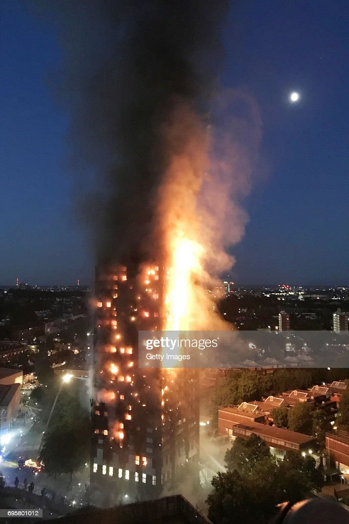 In this image taken by eyewitness Gurbuz Binici, a huge fire engulfs the 24 story Grenfell Tower in Latimer Road, West London in the early hours of this morning on June 14, 2017 in London, England. The Mayor of London, Sadiq Khan, has declared the fire a major incident. Fatalities have been confirmed and at least 50 people are receiving hospital treatment.
