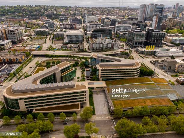 In this image taken with a drone, the Bill And Melinda Gates Foundation is seen on May 4, 2021 in Seattle, Washington. Bill Gates and Melinda Gates...