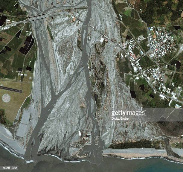 In this is a satellite image damage from Typhoon Morakot is seen August 12 2009 in Taitung Taiwan Two bridges werer destroyed the shoreline has been...