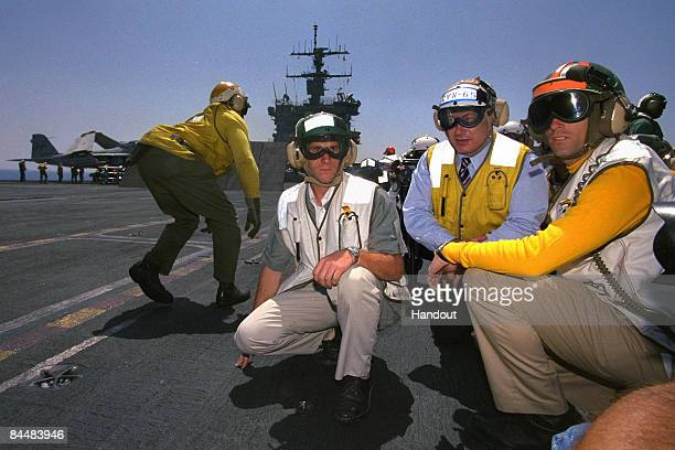 In this Israeli Government Press Office file photo Israeli Prime Minister Benjamin Netanyahu on the flight deck of the USS Enterprise as he is hosted...