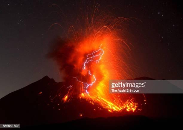 In this long exposure image Mt Sakurajima erupts on September 29 2017 in Tarumizu Kagoshima Japan It is 72nd eruption this year