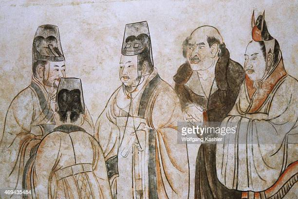 In this mural foreign ambassadors are being received at court The two elegantly clad figures on the right are from Korea the bareheaded largenosed...
