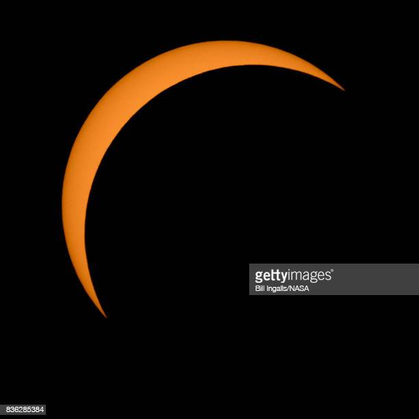 In this NASA handout The Moon is seen passing in front of the Sun during a solar eclipse August 21 2017 from Ross Lake Northern Cascades National...