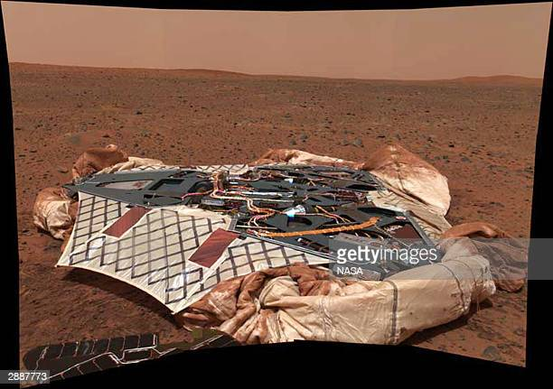 In this NASA handout the panoramic camera onboard the Mars Exploration Rover Spirit shows the rover's landing site the Columbia Memorial Station...