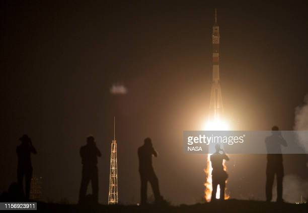 In this NASA handout, The Soyuz MS-13 rocket is launched with Expedition 60 Soyuz Commander Alexander Skvortsov of Roscosmos, flight engineer Drew...