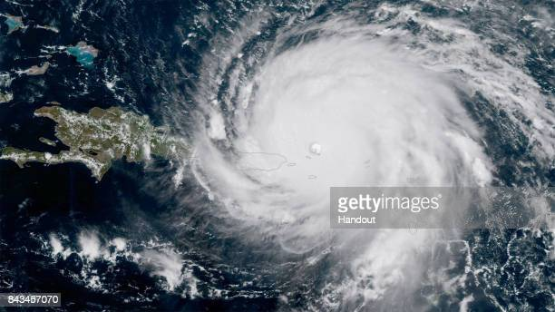 In this NOAA handout image NOAA's GOES satellite shows Hurricane Irma as it makes its way across the Atlantic Ocean in to the Caribbean a category 5...