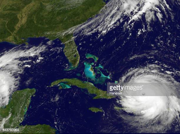 In this NOAA handout image NOAA's GOES satellite shows Hurricane Irma as it moves towards the Florida Coast in the Caribbean Sea taken at 1615 UTC on...