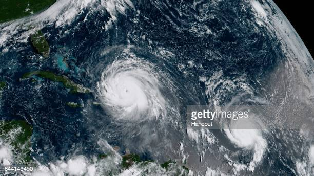 In this NOAA handout image NOAA's GOES satellite shows Hurricane Irma and Hurricane Jose on September 7 2017 in the Atlantic Ocean South Florida is...