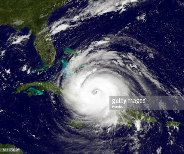 In this NOAA handout image NOAA's GOES satellite shows Hurricane Irma as it moves towards the Florida Coast as a category 4 storm in the Caribbean...
