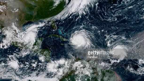 In this NOAA handout image NOAA's GOES satellite shows Hurricane Katia Hurricane Irma and Hurricane Jose on September 7 2017 in the Atlantic Ocean...