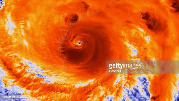 In this NOAA handout image the NOAA/NASA Suomi NPP satellite captures this infrared image of Hurricane Harvey just prior to making landfall at 1855...