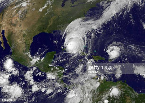 In this NOAANASA GOES Project handout image GOES satellite shows Hurricane Irma as it makes landfall on the Florida coast as a category 4 storm as...
