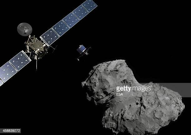 In this November 10 2014 handout photo illustration provided by the European Space Agency the Rosetta probe and Philae lander are pictured above the...