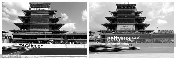 """In this """"now and then"""" composite. ** LEFT IMAGE** A general view of the race during the 104th running of the Indianapolis 500 at Indianapolis Motor..."""