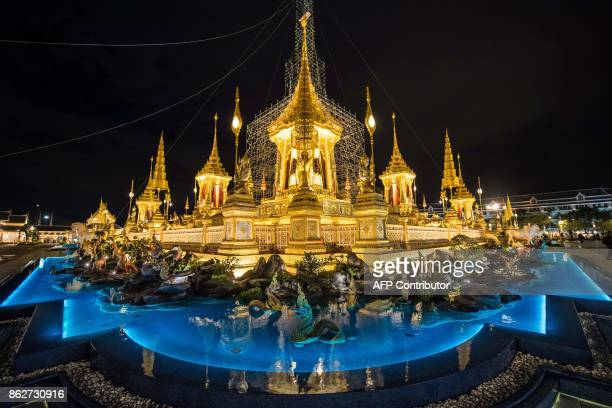 In this October 17 2017 photo the main edifice of the cremation site for Thailand's late king Bhumibol Adulyadej is surrounded by a shallow pool King...
