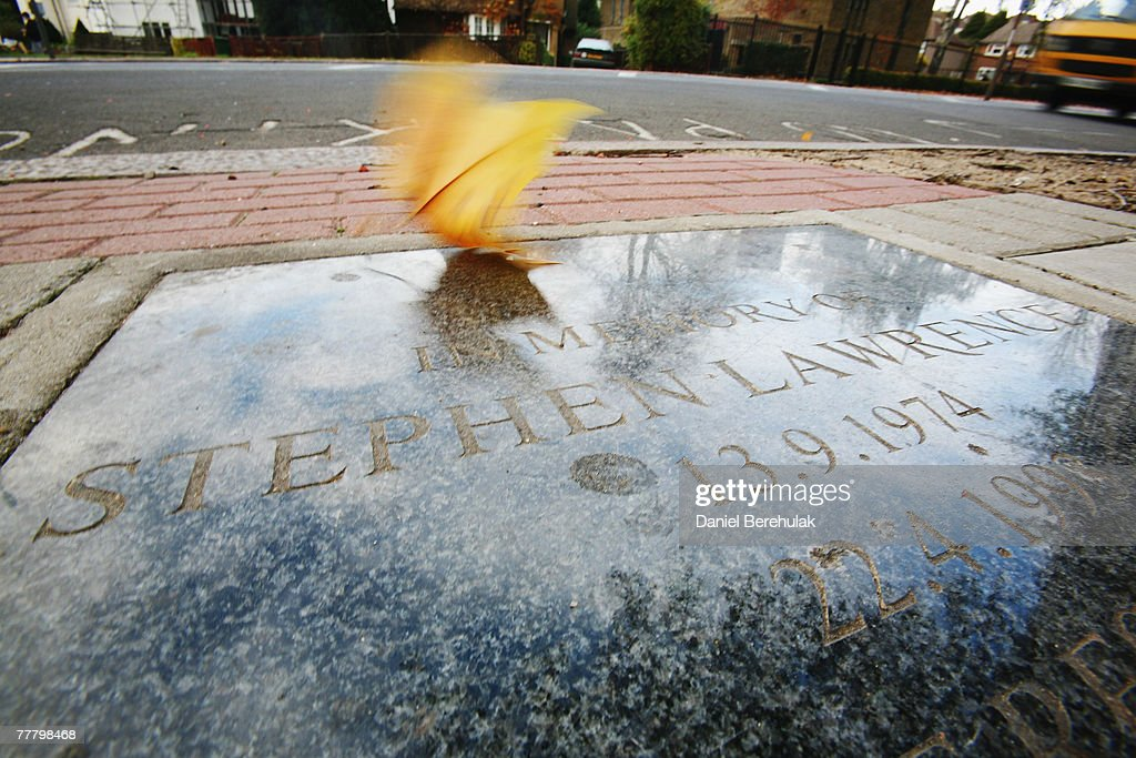 The Stephen Lawrence Memorial At The Scene Of His Murder : News Photo