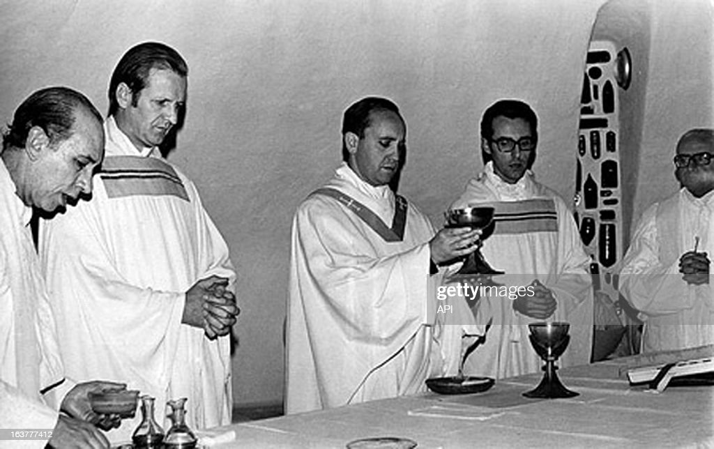 In this photo circa 1976 (L - R) Victor Zorzin, rector of the School Maximo, Andres Swinnen, Teacher of the novices, Jorge Mario Bergoglio, province superior, Carlos Cravena, Minister of the School Maximo, and Hipolito Salvo, ex- provincial in Argentina..