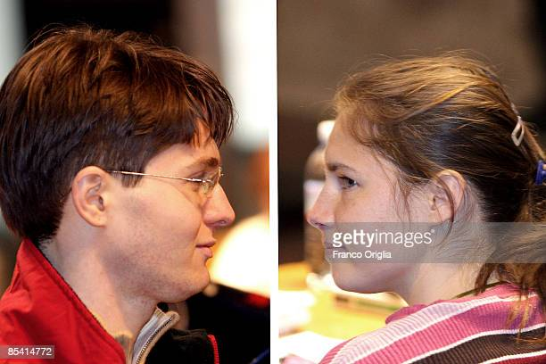 In this photo composite image Raffaele Sollecito and Amanda Knox arrive for the Meredith Kercher murder trial at the Perugia courthouse on March 13...