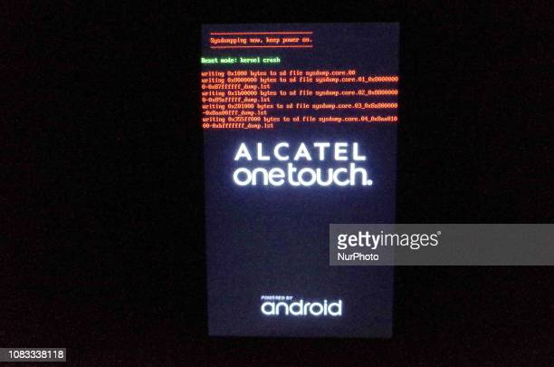 In this photo dated January 1 an Alcatel smartphone performs a system dump due to a kernel crash error in Manila Philippines A weather app developed...