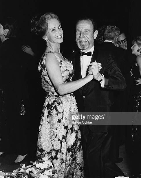 In this photo from about 1968 actor Hume Cronyn and his wife actress Jessica Tandy dance at the Rainbow Room atop Rockefeller Center in New York City...