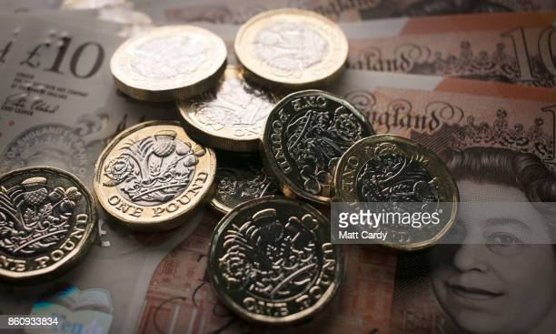 In this photo illustration £1 coins are seen with the new £10 note on October 13 2017 in Bath England Currency experts have warned that as the...
