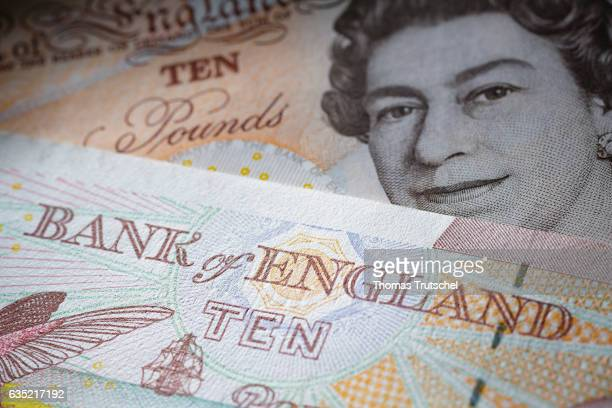 In this Photo Illustration £ 10 pound sterling bills lying on a table on February 13 2017 in Berlin Germany