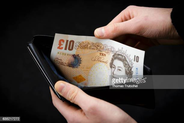 In this Photo Illustration a £ 10 pound sterling bill stuck in a wallet on February 13 2017 in Berlin Germany