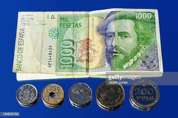 In This Photo Ilration A 1000 Peseta Note And Coins Are Seen On November 16