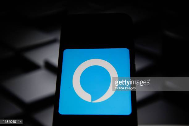 In this photo illustration a Amazon Alexa logo seen displayed on a smartphone