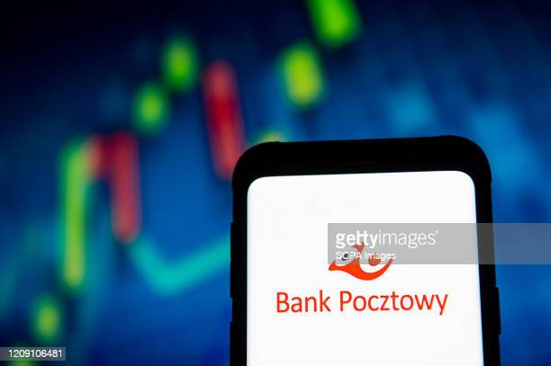 In this photo illustration a Bank Pocztowy logo seen displayed on a smartphone
