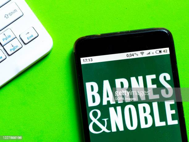 In this photo illustration a Barnes & Noble logo is seen displayed on a smartphone.