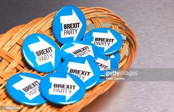 In this photo illustration a basket of BrexitParty badges photographed on August 8 2019 in London