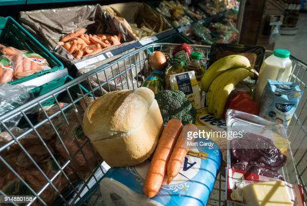 In this photo illustration a basket of goods is seen in a supermarket on February 6 2018 in Bristol England The Governor of the Bank of England Mark...