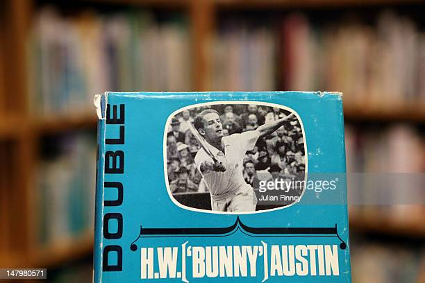 In this photo illustration a book depicting the last British Wimbledon finalist Bunny Austin is pictured in the Wimbledon Museum library on day...