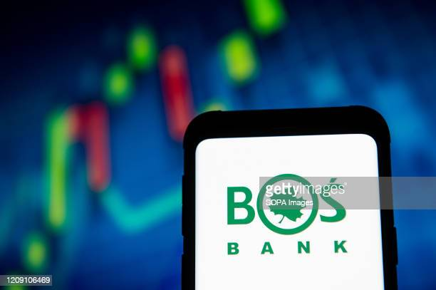 In this photo illustration a BOS Bank Ochrony Srodowiska logo seen displayed on a smartphone