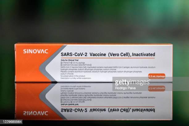 In this photo illustration, a box of Sinovac Biotech coronavirus trial vaccine is displayed at Palacio Bandeirantes on November 19, 2020 in Sao...
