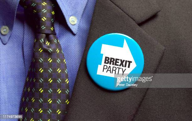 In this photo illustration a Brexit Party badge is worn shot on September 16 2019 in LondonEngland