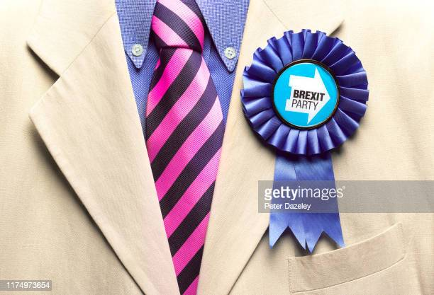 In this photo illustration a Brexit Party rosette is worn shot on September 16 2019 in LondonEngland