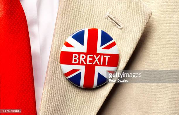 In this photo illustration a Brexit Union Jack flag badge is worn shot on September 16 2019 in LondonEngland