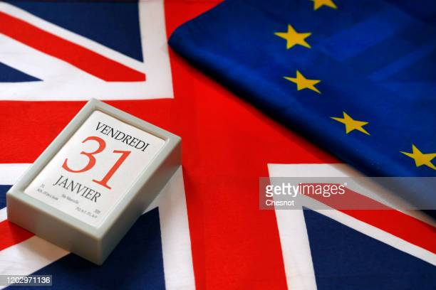 In this photo illustration, a calendar on date January 31 is on display on a British flag and an European flag on January 30, 2020 in Paris, France....