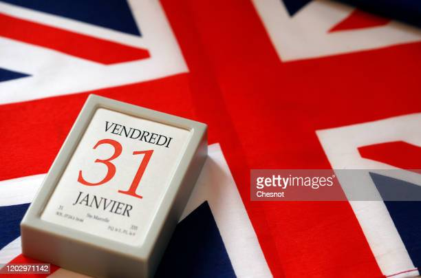 "In this photo illustration, a calendar on date January 31 is on display on a British flag and on January 30, 2020 in Paris, France. ""Brexit"" is an..."